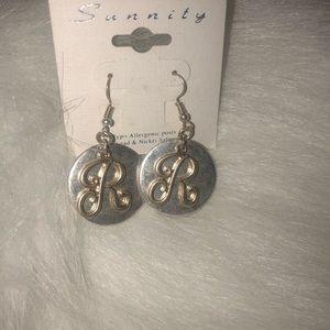 Jewelry - Initial Earrings Letter R